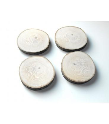 Rondelles de bois, tranche de bois de Frêne ponçées, lot de 4